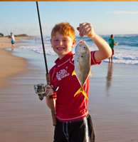 Everyone enjoys a day fishing on the beach.